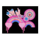 Estrellas punkyes rosadas y espirales del arco iri postal