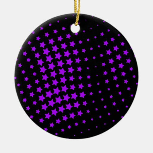 Estrellas púrpuras adorno navideño redondo de cerámica