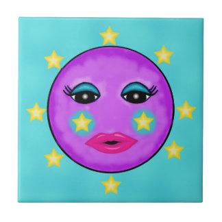Estrellas púrpuras de la cara de luna de la fantas azulejo cuadrado pequeño
