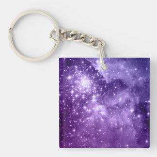 Estrellas púrpuras de la magia llavero cuadrado acrílico a doble cara