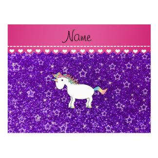 Estrellas púrpuras del brillo del añil conocido de postal