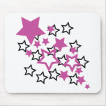 estrellas púrpuras del negro alfombrilla de ratón