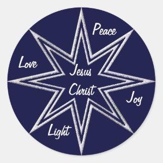 Estrellas que brillan pegatina redonda