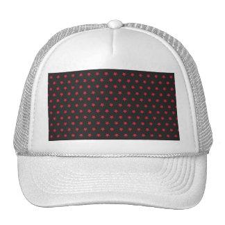 Estrellas relucientes del rojo en negro gorras