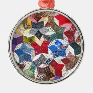 Estrellas remendadas vintage femenino adorable adorno navideño redondo de metal