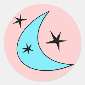 Estrellas retras del bumerán pegatina redonda
