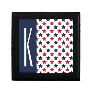 Estrellas rojas, blancas, y azules caja de joyas