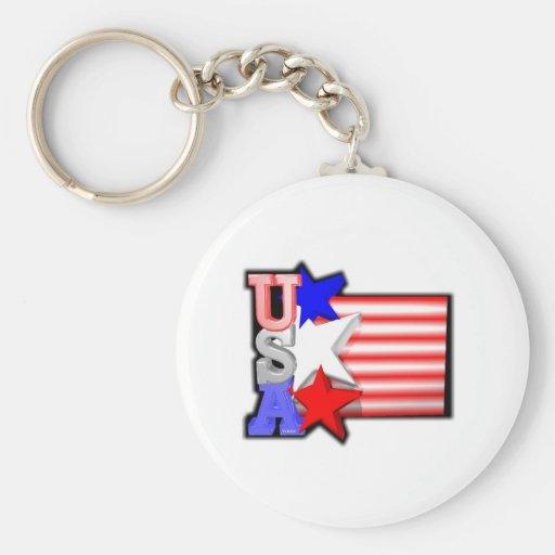 Estrellas rojas, blancas y azules de los E.E.U.U.  Llavero Redondo Tipo Pin