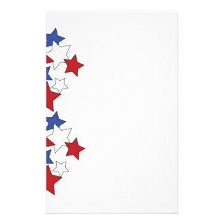 Estrellas rojas, blancas y azules inmóviles papelería de diseño