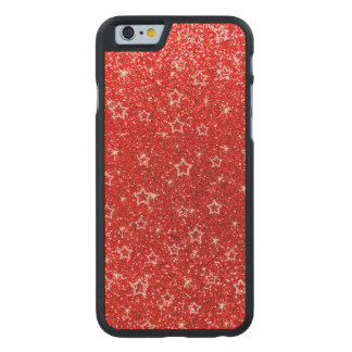 Estrellas rojas de neón del brillo funda de iPhone 6 carved® de arce