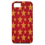 Estrellas rojas del fondo y del amarillo iPhone 5 Case-Mate carcasas