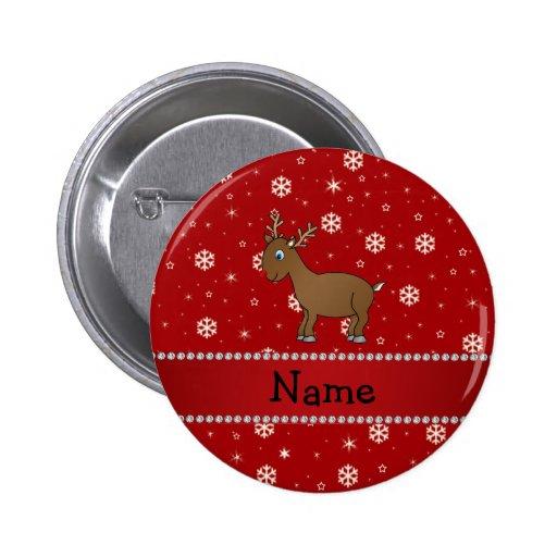 Estrellas rojas personalizadas de los copos de nie pin redondo 5 cm
