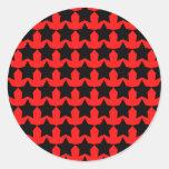 Estrellas rojas y negras punkyes pegatina redonda