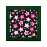Estrellas rosadas del verde amarillo en negro cajas de joyas