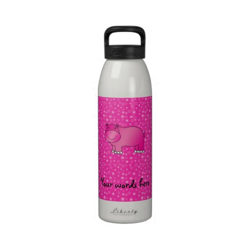 Estrellas rosadas lindas del rosa del hipopótamo botella de agua