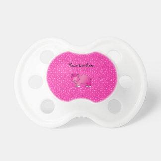 Estrellas rosadas lindas del rosa del hipopótamo chupetes de bebe