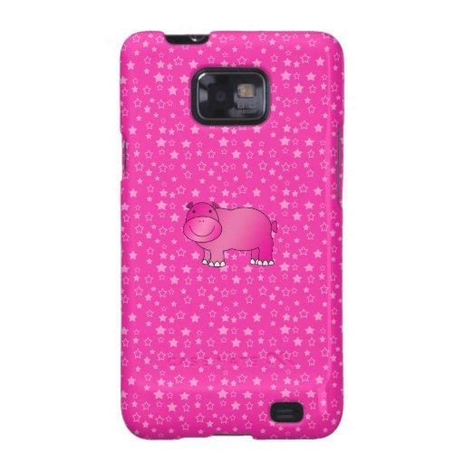 Estrellas rosadas lindas del rosa del hipopótamo samsung galaxy s2 funda