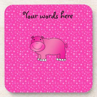 Estrellas rosadas lindas del rosa del hipopótamo posavaso