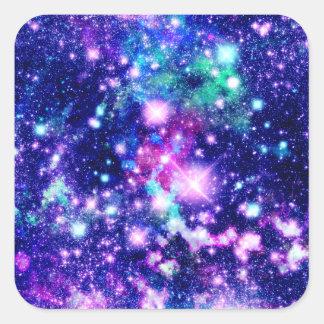 Estrellas rosadas y púrpuras de la galaxia pegatina cuadrada