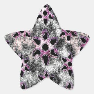 Estrellas tachonadas en mosaico negro pegatina en forma de estrella