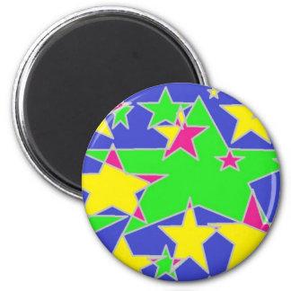 estrellas traslapadas imán redondo 5 cm