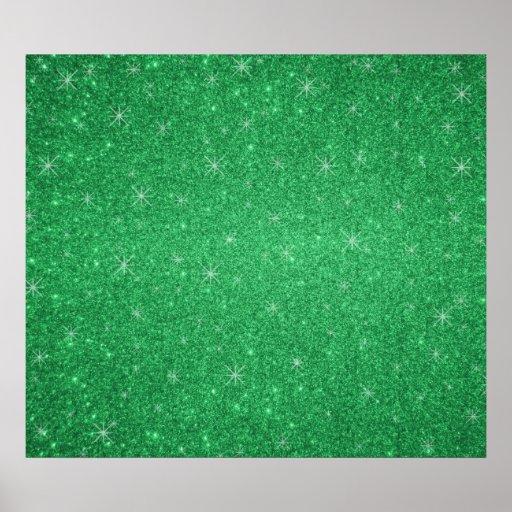 Estrellas verdes del brillo posters