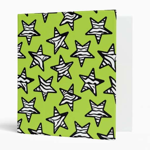 """Estrellas verdes del estampado de zebra carpeta 1"""""""