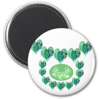 ESTRELLAS VERDES del verde de los corazones n Imán Redondo 5 Cm