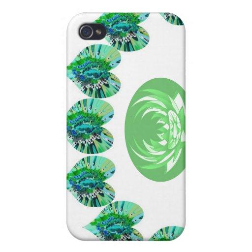 ESTRELLAS VERDES del verde de los corazones n iPhone 4 Fundas