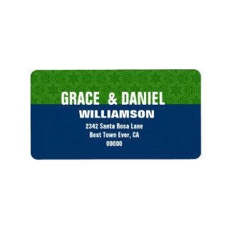 Estrellas verdes y azules G103 simple moderno Etiqueta De Dirección
