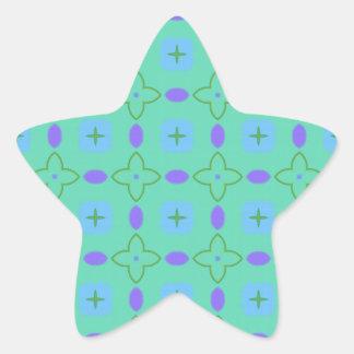Estrellas verdes y de la púrpura calcomanía forma de estrella