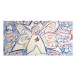Estrellas y ángel de las rayas tarjetas personales con fotos