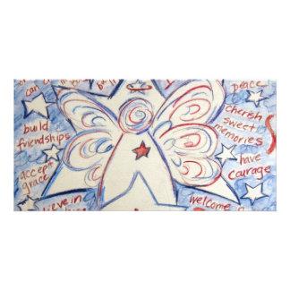 Estrellas y ángel de las rayas tarjeta fotografica personalizada
