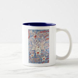 Estrellas y ángel de las rayas taza de café