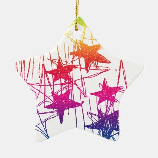 Estrellas y arco iris de los garabatos adorno navideño de cerámica en forma de estrella