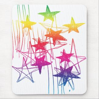 Estrellas y arco iris de los garabatos alfombrilla de ratón