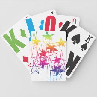 Estrellas y arco iris de los garabatos barajas de cartas