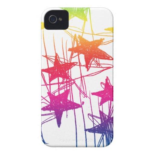 Estrellas y arco iris de los garabatos Case-Mate iPhone 4 carcasas