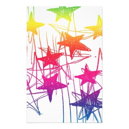 Estrellas y arco iris de los garabatos papelería personalizada