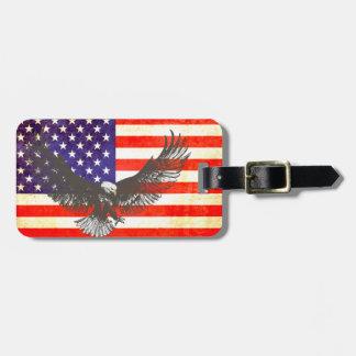Estrellas y bandera de América de las rayas y etiq Etiqueta De Maleta
