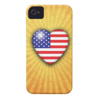 Estrellas y bandera del corazón de las rayas en fo iPhone 4 Case-Mate carcasas