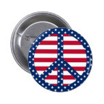 Estrellas y botón del símbolo de paz de las rayas pins