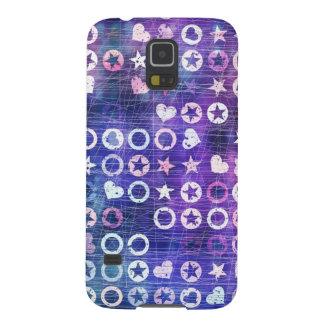 Estrellas y corazones de la púrpura funda de galaxy s5