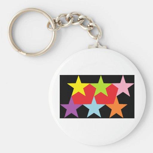 Estrellas y corazones multicolores llavero redondo tipo pin