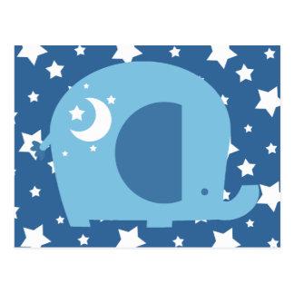 Estrellas y elefante del azul de la luna postales