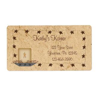 Estrellas y etiqueta oxidadas de la vela etiqueta de envío