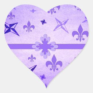 Estrellas y flor de lis pegatina corazon