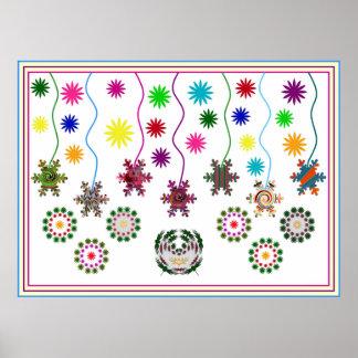 Estrellas y flores de los copos de nieve posters