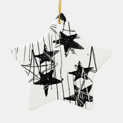 Estrellas y garabatos adorno navideño de cerámica en forma de estrella