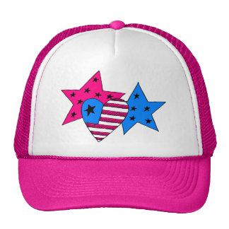 Estrellas y gorra patrióticos del corazón